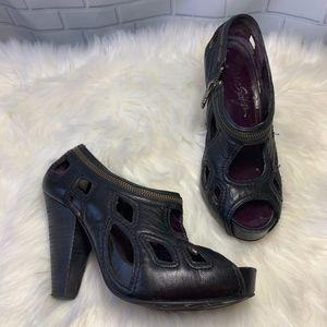 Miss Sixty Hailey Black Open Toe Heels Size 37.5